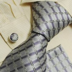 NEW Designer Purple Silver Checkers Plaids Neckties for Men Jacquard Woven Pure Silk Mens Tie and Cufflinks Set with Matching Presentation Box Bh1041