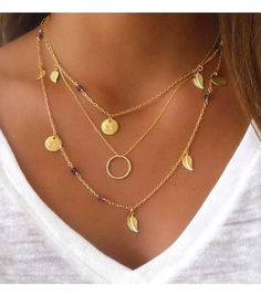 18K Gold Plated Coin Leaf Circle Pendant Necklace. FREE- just pay Shipping & Handling.