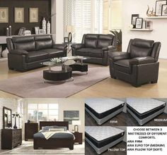 new life to your and with one of our amazing Package Deals For only 1560 you can get Combo 3 that features the Arabella sofa love seat AND a Queen size Fenbrook bed with. Discount Furniture, Online Furniture, Living Room And Bedroom Combo, Loveseat Sofa, Couches, Sofas, Queen Frame, Mattress Sets, Package Deal