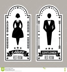 Photo about Restroom Premium Retro Signs Vector Lady & Gentleman Collection, vector illustration. Illustration of business, arrow, label - 72794308 Toilet Door, New Toilet, Toilet Signs, Foodtrucks Ideas, Wc Sign, Retro, Pub Signs, Decoupage Vintage, Restaurant Interior Design