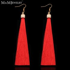 5 Colors 14K Gold Plated Fiber Tassel Long Drop Earrings for Bridal Women Wedding Party Jewelry Accessories EH422