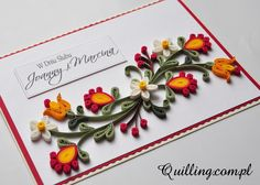 W stylu folk - quilling, handmade, greeting card, wedding, folk