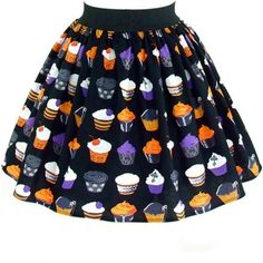 "Women's ""Gothic Cupcakes"" Aline Skirt by Hemet (Black)"