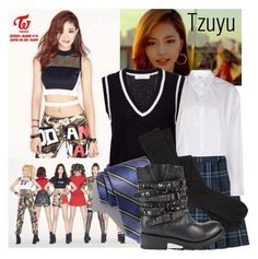 """""""Twice Like OOH-AHH Outfit from Tzuyu"""" by schnpri ❤ liked on Polyvore featuring Maison Margiela, Le Ciel Bleu, Robert Talbott, Ash, kpop, twice, girlgroup, kpopoutfits and Tzuyu"""