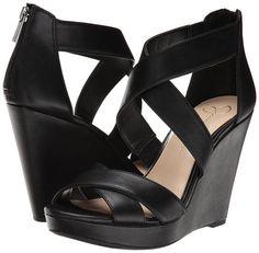 "- Item Description: - Round open-toe crisscross-strap platform wedge sandals - Zipper closure at back - 4"" heel - 3/4"" platform - Manmade upper; manmade sole"
