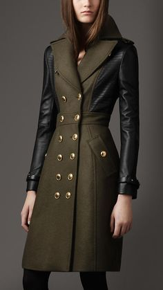 Burberry London Leather Sleeve Coat