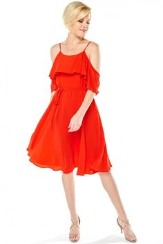 Lovely Red Dress - Cold Shoulder Dress - Ruffle Dress - $49.00 | HER. Boutique