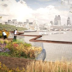 The Garden Bridge proposal by Thomas Heatherwick for a pedestrian bridge between South Bank and Temple Station.