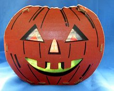 VTG 1935 Fibro Novelty  CARDBOARD JACKOLANTERN HALLOWEEN CANDLE HOLDER/ INSERTS