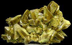 Gypsum, Rudna Mine, Lubin, Dolny Slask, Poland.  Size 13.0 x 6.5 x 6.5 cm  Unusual specimen of nice, sharp, brown/green gypsum crystals