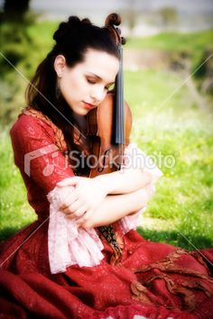 Beautiful girl with violin outdoor Royalty Free Stock Photo