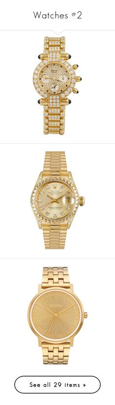 """""""Watches #2"""" by deborahsauveur ❤ liked on Polyvore featuring jewelry, watches, accessories, yellow, yellow gold watches, gold jewelry, gold chronograph watches, chopard watches, chronograph watch and one colour"""