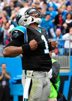 CHARLOTTE, NC - DECEMBER 09: Cam Newton #1 of the Carolina Panthers reacts after scoring a touchdown against the Atlanta Falcons during play at Bank of America Stadium on December 9, 2012 in Charlotte, North Carolina. Carolina defeated Atlanta 30-20. (Photo by Grant Halverson/Getty Images)