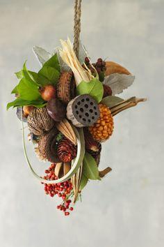 Leuke opdracht om een hangend object te maken met herfstmaterialen.