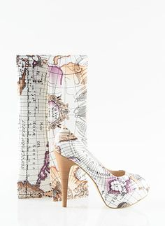 travel map printed shoe combination...