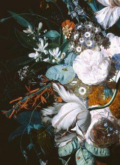paintingses: Vase with Flowers (detail) by Jan van Huysum...