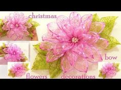 DIY flores en cintas de organza- Dahlias flowers in organza ribbons Giant Flowers, Diy Flowers, Flower Decorations, Paper Flowers, Christmas Flowers, Christmas Bows, Christmas Crafts, Mesh Wreath Tutorial, Nylon Flowers