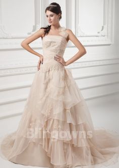 Taffeta Halter Appliques Tulle Sleeveless A-line Zipper Sweep Wedding Dresses