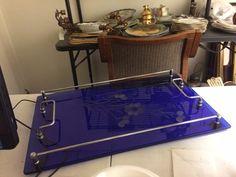 Antique Art Deco Etched Cobalt Blue Glass & Chrome Handles Cocktail Serving Tray.