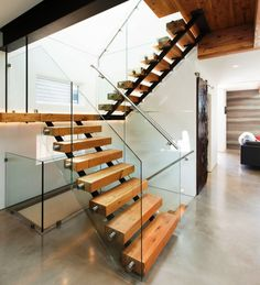 Modern Staircase Design With Floating Timber Steps And Glass Railing Panels Also Stainless Steel Handrail Ideas: Contemporary Green Home Design in Canada, Midori Uchi