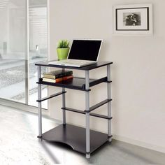 Computer PC Desk Study Table Workstation Pull-Out Drawer Small Space Black Grey #ComputerPCDesk