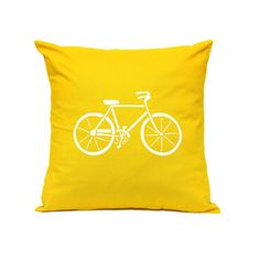Linnea - Swedish Design www.linnea.com.au Throw Pillow - Bicycle in YELLOW - Decorative Cushion - Handmade Pillow Cover in Swedish Design - Scandinavian Style Homewares. Pillows, cushions, pillow covers, cushion covers, throw pillows, handmade, DIY, screen printed, hand print, home wares, swedish design, scandinavian style, bedroom, living room, sewing, crafting ideas, colourful, colorful, on sofa, couch, modern, ideas, stylish, lounge, black and white, printed, on bed, decor, home decor.