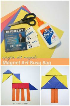 Magnet Art Busy Bag: This busy bag takes only a couple minutes to put together, gets rid of those old magnets, & is great for keeping kids entertained!