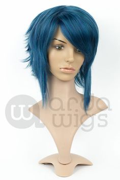 Indigo Blue Out of Stock Dark Ash Blonde, Light Blonde, Dark Blue, Short Wigs, Curly Wigs, Indigo Hair, Indigo Blue, Ramona Flowers, Choppy Layers