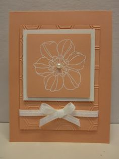 Stamps:  Secret Garden Ink:  Versamark, white embossing powder Paper:  Crisp cantaloupe, shimmery white card stock Tools:  Big shot, honeycomb embossing folder, white stitched ribbon, basic pearls, heat tool