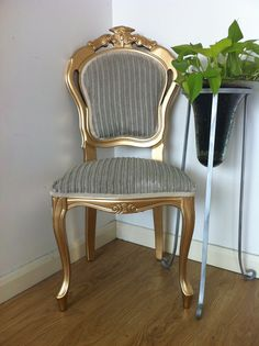 A Shimmery Gold French Italian Dining Chair With Stone Very Fluffy Fabric Added