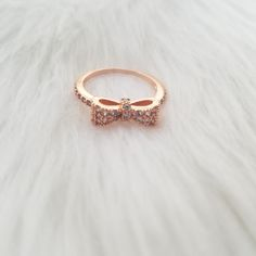 Rose Gold Rhinestone Bow Ring