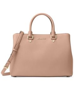 MICHAEL Michael Kors Savannah Large Satchel $178.80 A sophisticated and stunning example of workweek-chic, MICHAEL Michael Kors' structured satchel flaunts a matte finish in signature saffiano leather. Exceptionally organized, you'll find a several pockets as well as a sturdy zip compartment and convenient key holder inside.
