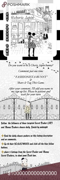 """🐰💗NEW GAME LISTING!💗🐰 The Official Secret Posher Game! Follow the Followers💎 of a Chosen SPG Team SP and my SP & BSP's daily to gain 300-1,000 followers Daily. Make sure to sign in by commenting """"Fashionista Bunny"""". Other"""