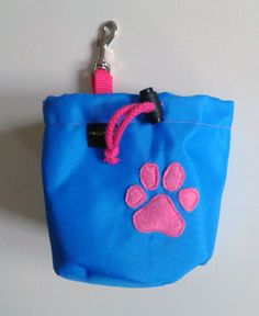 Blue dog treat pouch with a paw motif by DoGATAilla on Etsy