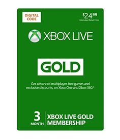 Xbox Live 3 Month Gold Membership [Online Game Code], 2015 Amazon Top Rated Subscription Cards #DigitalVideoGames