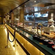 Lido Restaurant buffet line on the Holland America Veendam cruise ship