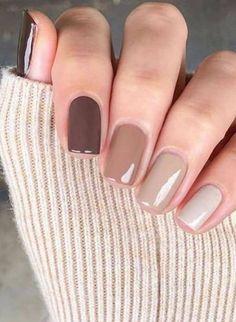 Neutral Nail Color, Fall Nail Colors, Neutral Gel Nails, One Color Nails, Sns Nails, Acrylic Nails, Trendy Nails, Cute Nails, Dipped Nails