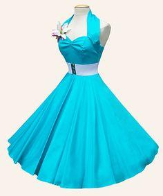Vivien of Holloway rockabilly swing turquoise dress set 1950s