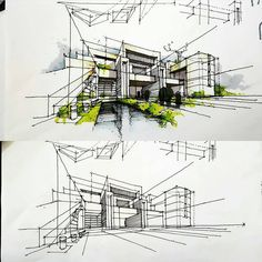 A leading platform for architecture sketchs. mention in your work… - Architectural sketches/drawings Architecture ideas Architecture Sketchbook, Concept Architecture, Architecture Design, Interior Design Sketches, Sketch Design, Design Art, Perspective Sketch, Point Perspective, Building Sketch