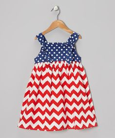 Take a look at this Red & Blue Chevron Polka Dot Dress - Toddler & Girls on zulily today!