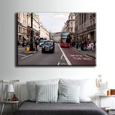 Large Overal Box Framed Canvas Print Wall Art Decor Room Artwork Stretched Wrapped Painting Decorative Modern Home & Living England Street Bus Stop London Street Traffic People Buildings Architecture Framed Canvas Prints, Artwork Prints, Canvas Frame, Poster Prints, Decor Room, Wall Art Decor, London Street, Box Frames, Home And Living