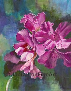 Azalea Nectar original acrylic painting PRINT by JanDaltonFineArt, $15.00