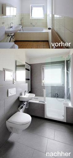 Badrenovierung Mit TWINLINE 2 Duschbadewanne (teilversenkt Mit Nur 5,5 Cm  Einstiegshöhe).