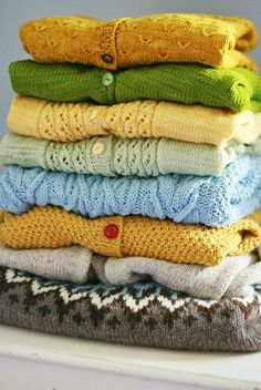 My pile of homeknitted sweaters. I want to knit more!