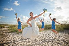 This bride and her maids are jumping for joy on her big day! Photography by Genevieve Stewart Moving Art Productions http://www.outerbanksweddingassoc.org/membersearch/memberpage.html?MID=1888=Photographers=16
