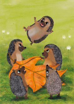 Hedgehog jumping, postcard illustration Jonna Markkula
