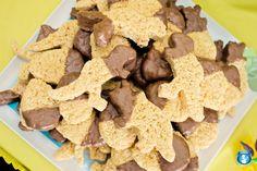 dinosaur shaped rice krispie treats and dino party