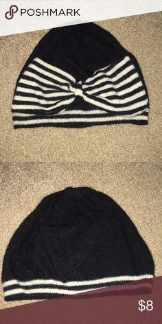aef8e649845 Beanie Black and white striped beanie with big bow detail. Accessories Hats