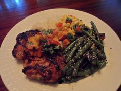 spice orange ginger chicken with peachy corn salsa and sesame green ...