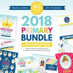 "2018 LDS Primary Theme Kit: I am a Child of God.  Get everything you need for for Primary this year in one convenient bundle at a discounted price!  We have included 10 valuable products that go along with the 2018 LDS Primary theme, ""I am a Child of God."" Each product is designed to assist you in your responsibilities including Primary door signs, birthday gifts, ""I am a Child of God"" bulletin board decorations, teaching aids, etc. Your Primary will love these bright and ..."